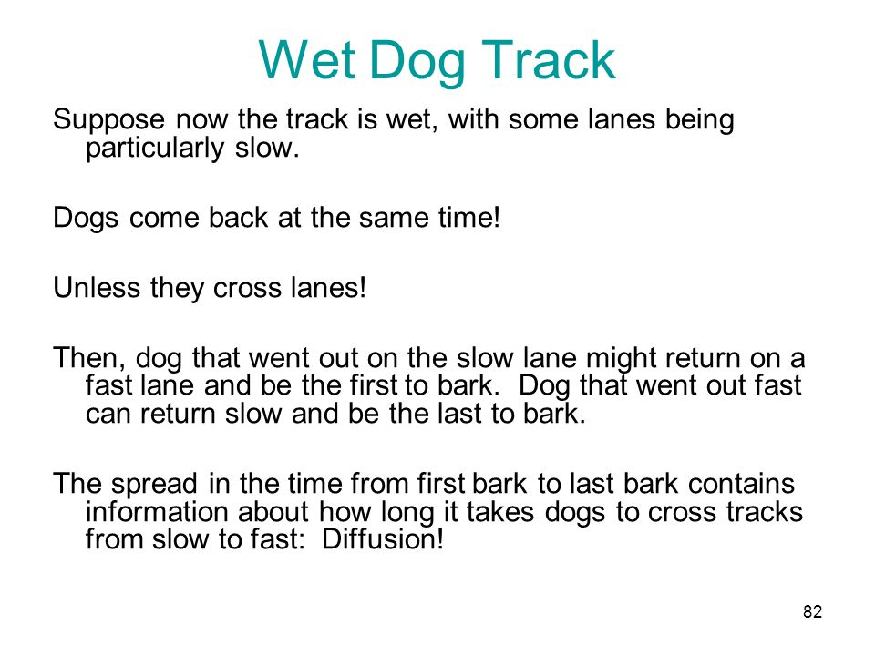 Wet Dog Track Suppose now the track is wet, with some lanes being particularly slow.