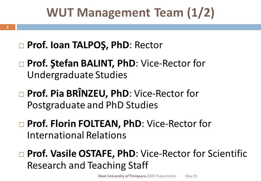 WUT Management Team (1/2) 2  Prof. Ioan TALPOŞ, PhD: Rector  Prof.