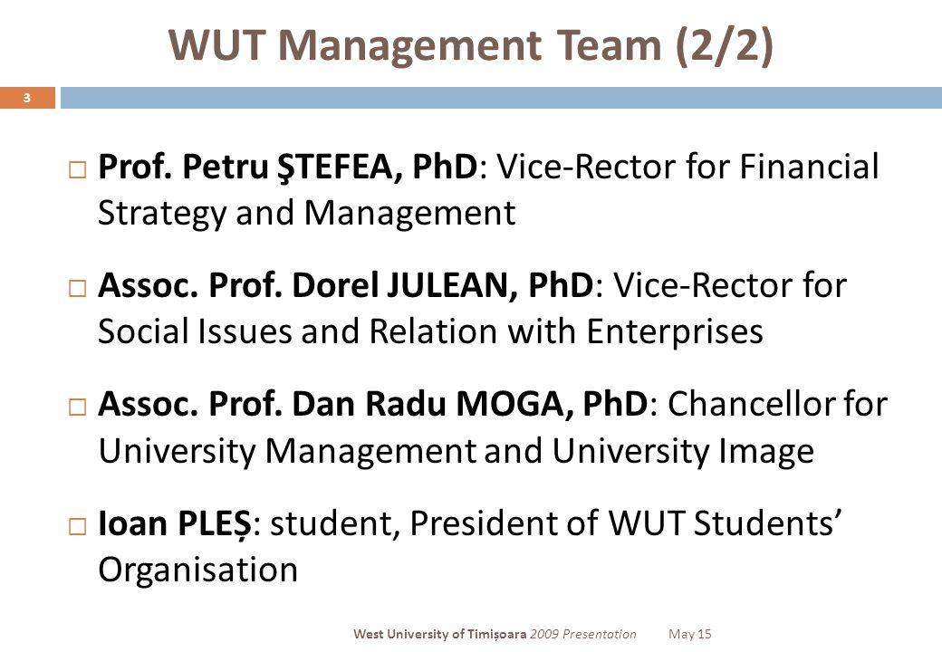 WUT Management Team (2/2) 3  Prof.