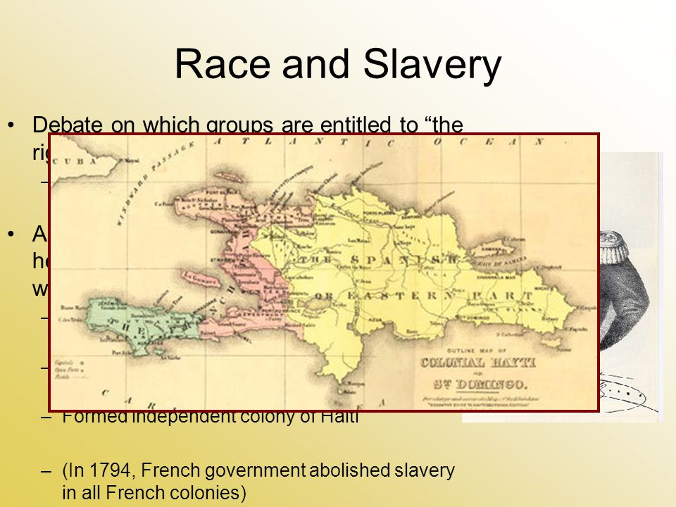 Race and Slavery Debate on which groups are entitled to the rights of man –Ex.