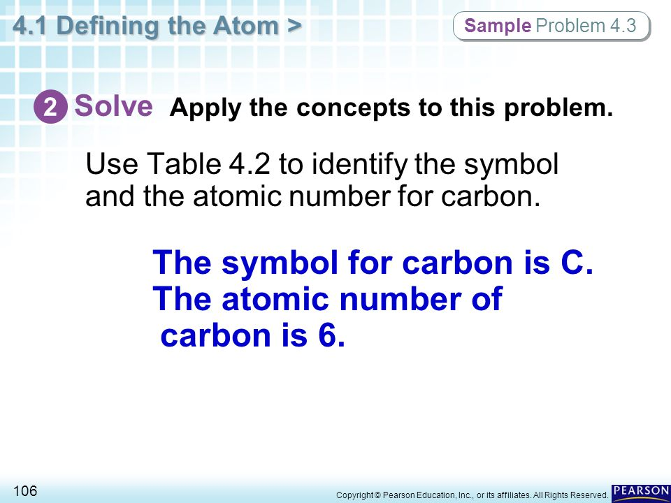 4.1 Defining the Atom > 106 Copyright © Pearson Education, Inc., or its affiliates. All Rights Reserved. Use Table 4.2 to identify the symbol and the