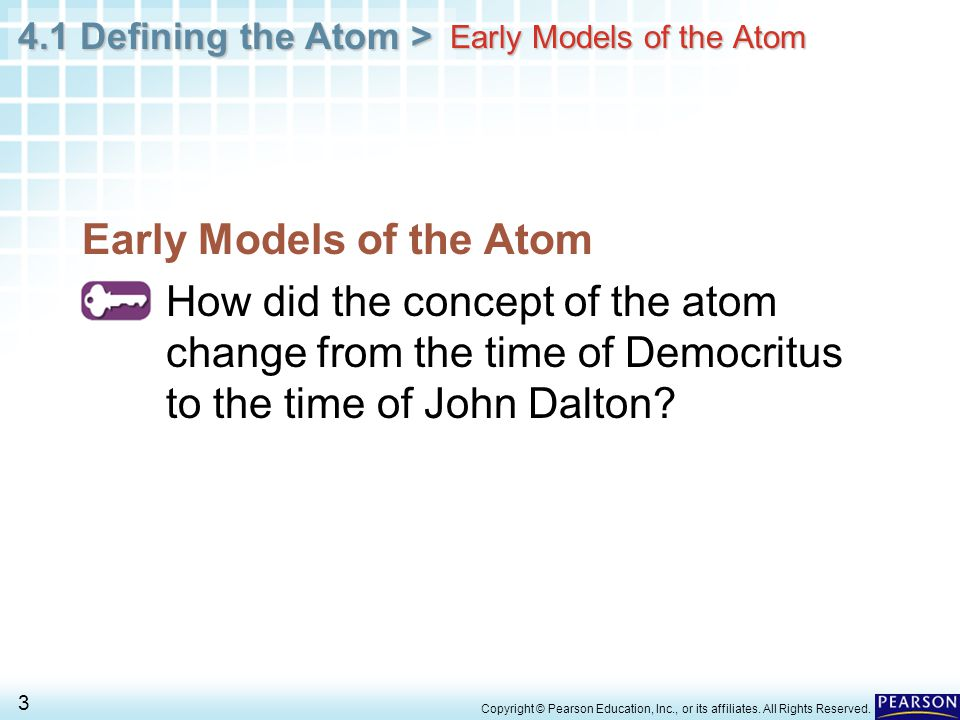 4.1 Defining the Atom > 14 Copyright © Pearson Education, Inc., or its affiliates.