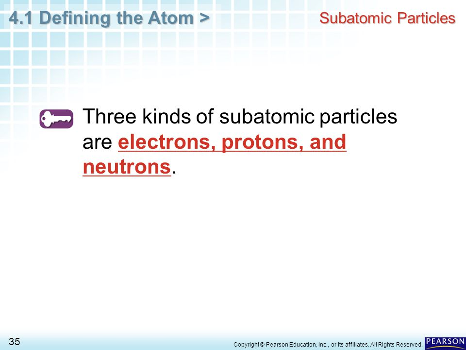 4.1 Defining the Atom > 35 Copyright © Pearson Education, Inc., or its affiliates. All Rights Reserved. Subatomic Particles Three kinds of subatomic p