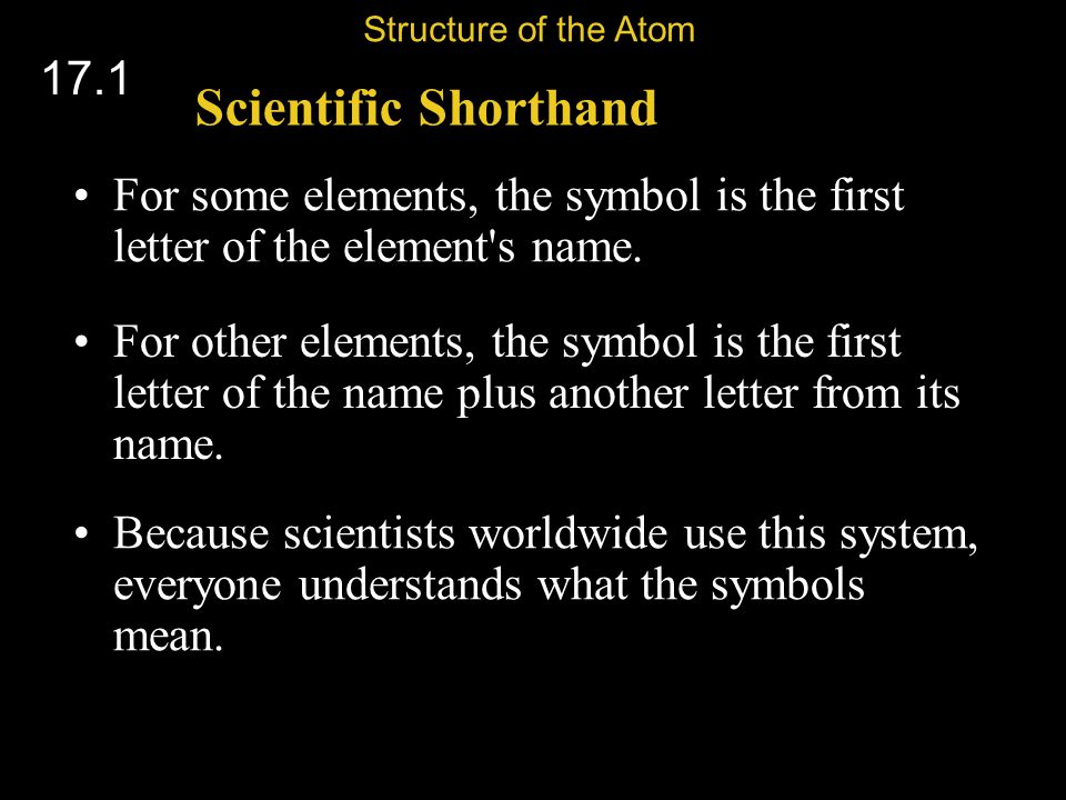 For some elements, the symbol is the first letter of the element s name.