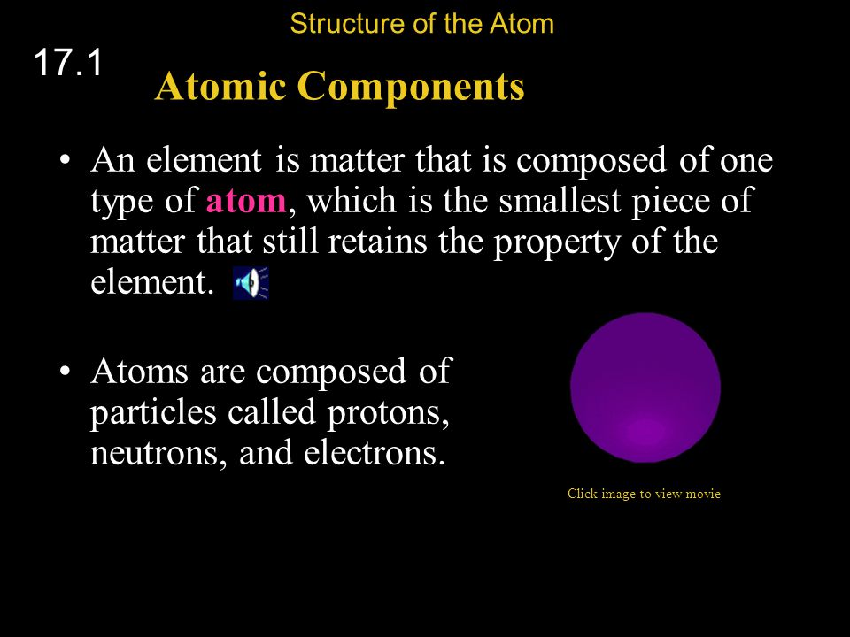 Protons Identify the Element The number of protons tells you what type of atom you have and vice versa.