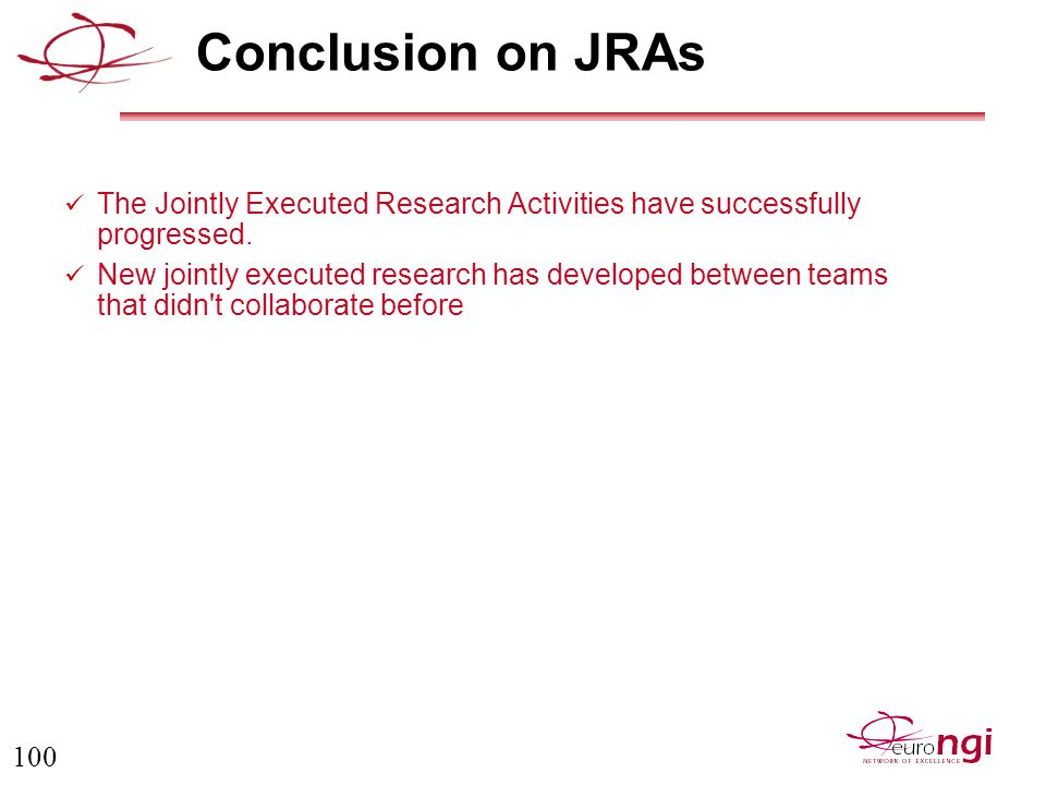 100 Conclusion on JRAs The Jointly Executed Research Activities have successfully progressed.