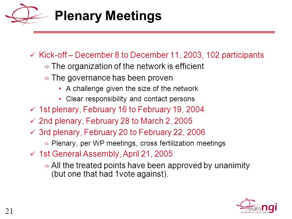 21 Plenary Meetings Kick-off – December 8 to December 11, 2003, 102 participants  The organization of the network is efficient  The governance has been proven A challenge given the size of the network Clear responsibility and contact persons 1st plenary, February 16 to February 19, 2004 2nd plenary, February 28 to March 2, 2005 3rd plenary, February 20 to February 22, 2006  Plenary, per WP meetings, cross fertilization meetings 1st General Assembly, April 21, 2005  All the treated points have been approved by unanimity (but one that had 1vote against).