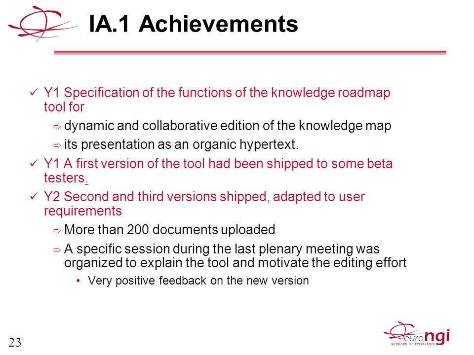 23 IA.1 Achievements Y1 Specification of the functions of the knowledge roadmap tool for  dynamic and collaborative edition of the knowledge map  its presentation as an organic hypertext.