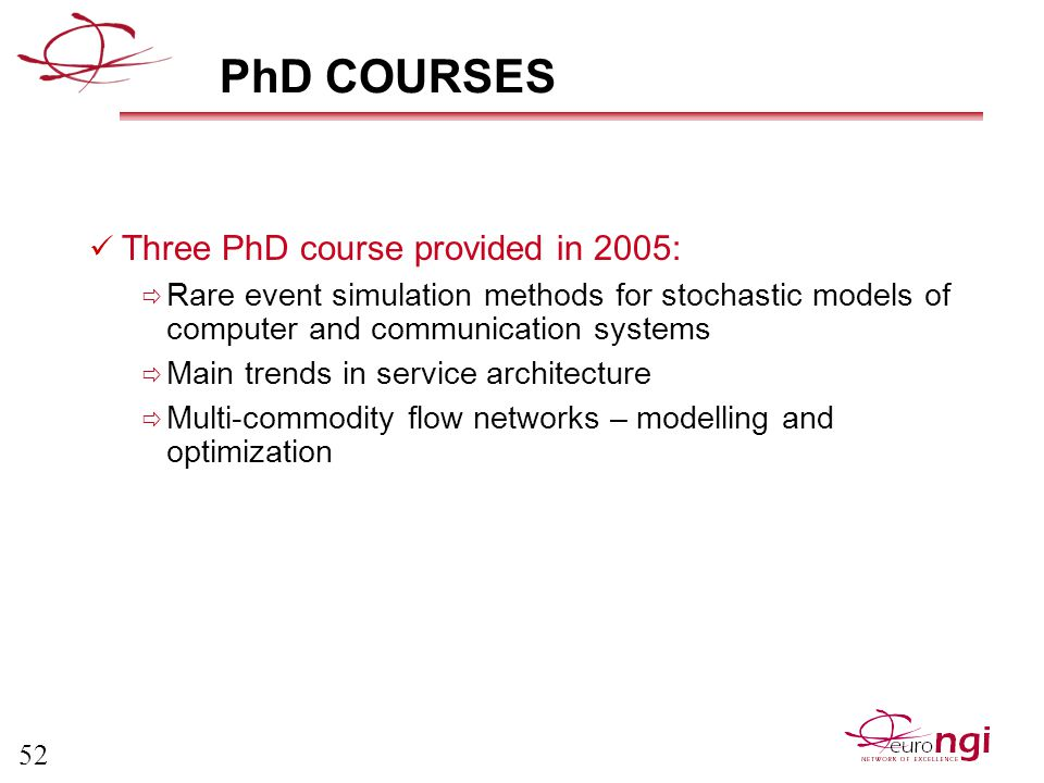 52 PhD COURSES Three PhD course provided in 2005:  Rare event simulation methods for stochastic models of computer and communication systems  Main trends in service architecture  Multi-commodity flow networks – modelling and optimization