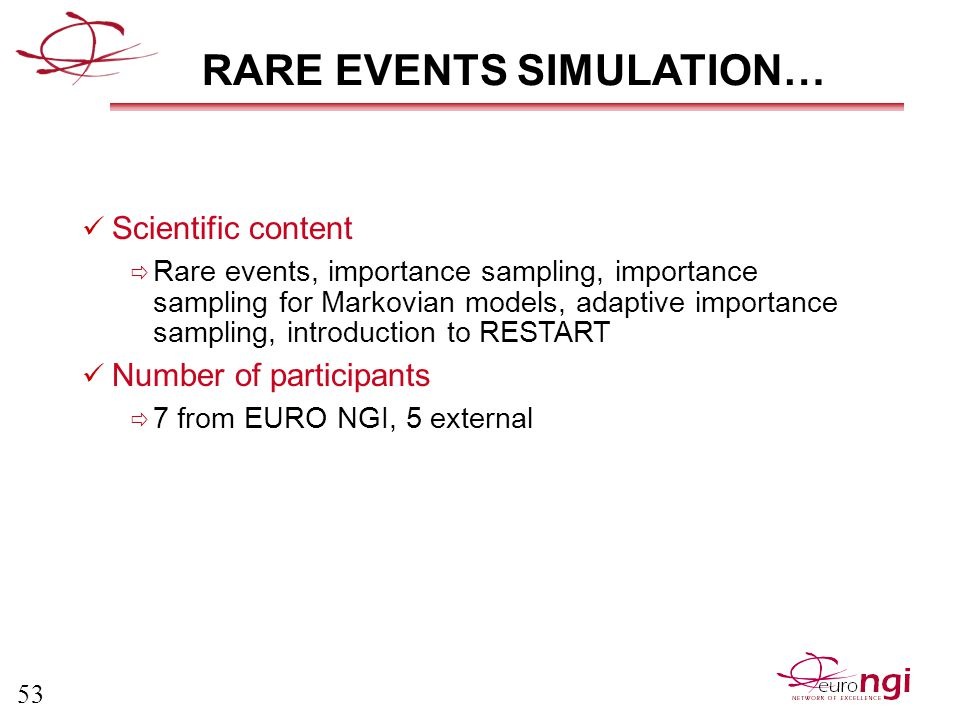 53 RARE EVENTS SIMULATION… Scientific content  Rare events, importance sampling, importance sampling for Markovian models, adaptive importance sampling, introduction to RESTART Number of participants  7 from EURO NGI, 5 external