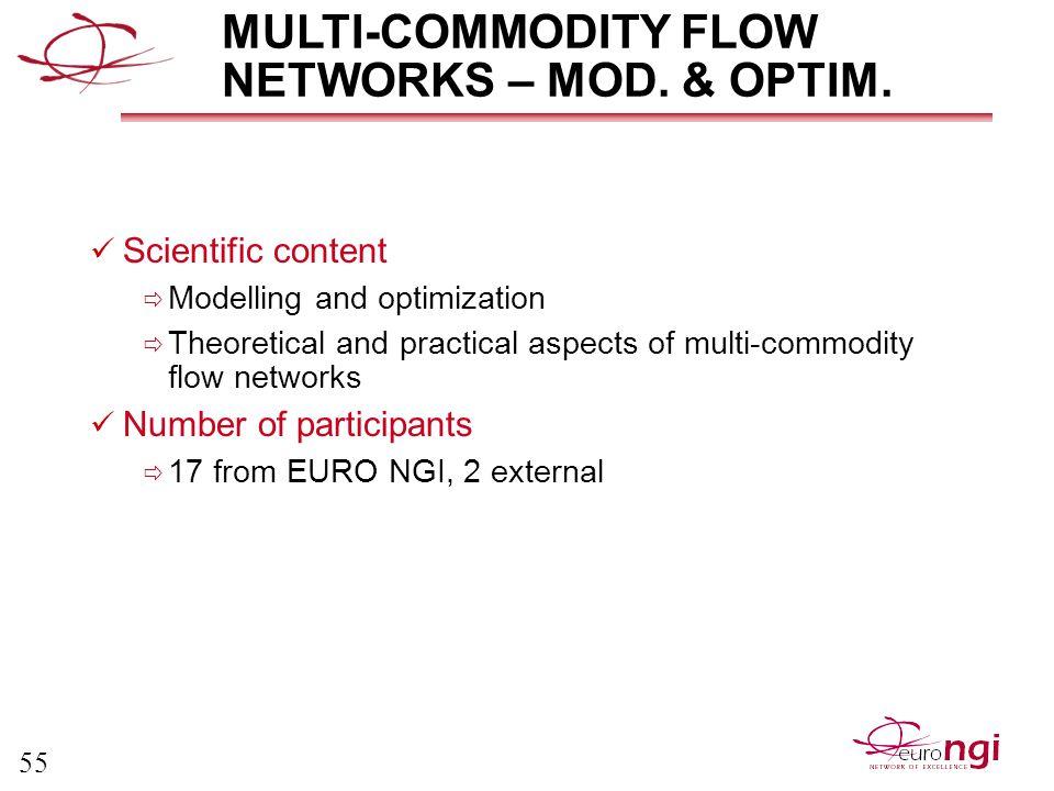 55 MULTI-COMMODITY FLOW NETWORKS – MOD. & OPTIM.