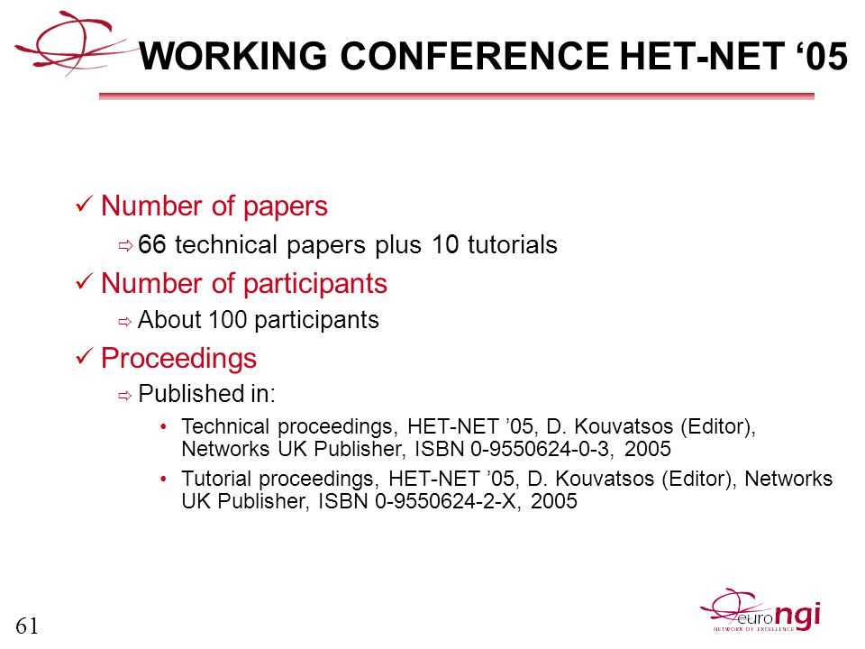 61 WORKING CONFERENCE HET-NET '05 Number of papers  66 technical papers plus 10 tutorials Number of participants  About 100 participants Proceedings  Published in: Technical proceedings, HET-NET '05, D.