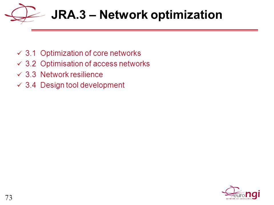 73 JRA.3 – Network optimization 3.1 Optimization of core networks 3.2 Optimisation of access networks 3.3 Network resilience 3.4 Design tool development