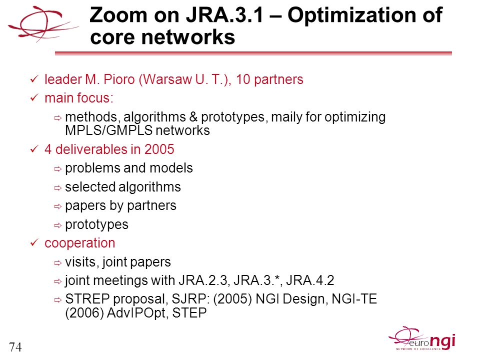 74 Zoom on JRA.3.1 – Optimization of core networks leader M.