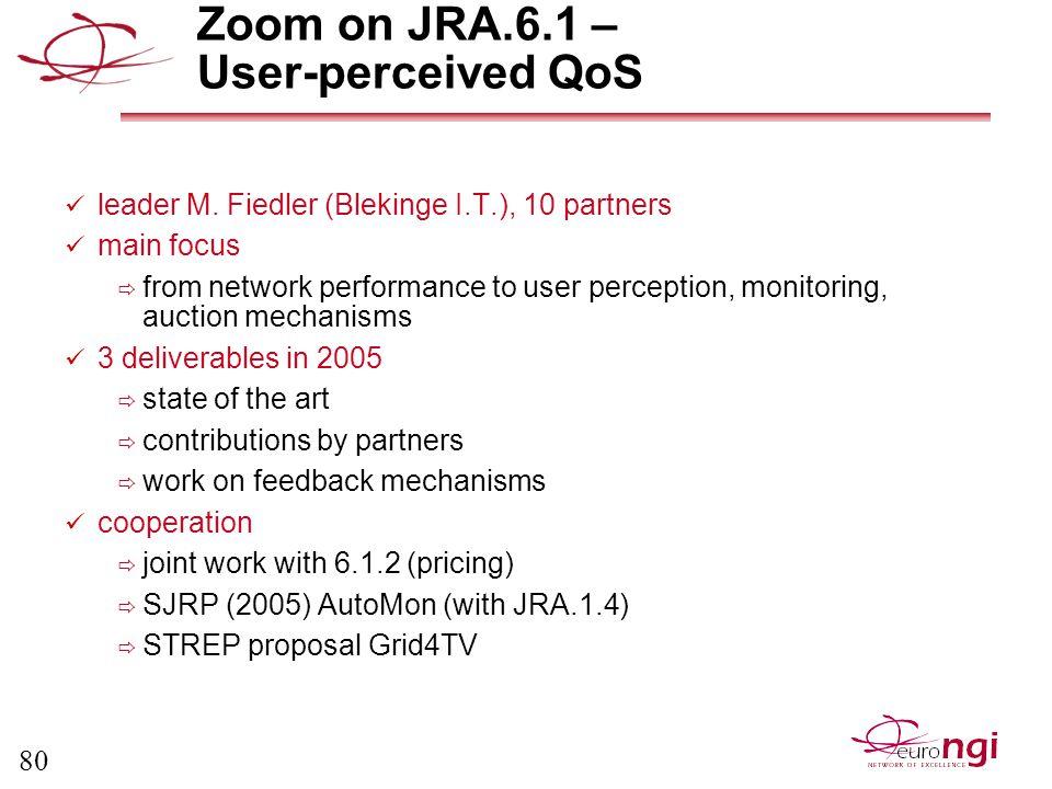 80 Zoom on JRA.6.1 – User-perceived QoS leader M.