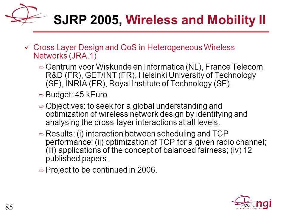 85 SJRP 2005, Wireless and Mobility II Cross Layer Design and QoS in Heterogeneous Wireless Networks (JRA.1)  Centrum voor Wiskunde en Informatica (NL), France Telecom R&D (FR), GET/INT (FR), Helsinki University of Technology (SF), INRIA (FR), Royal Institute of Technology (SE).