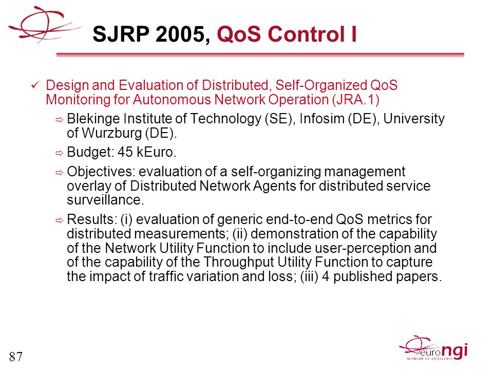87 SJRP 2005, QoS Control I Design and Evaluation of Distributed, Self-Organized QoS Monitoring for Autonomous Network Operation (JRA.1)  Blekinge Institute of Technology (SE), Infosim (DE), University of Wurzburg (DE).