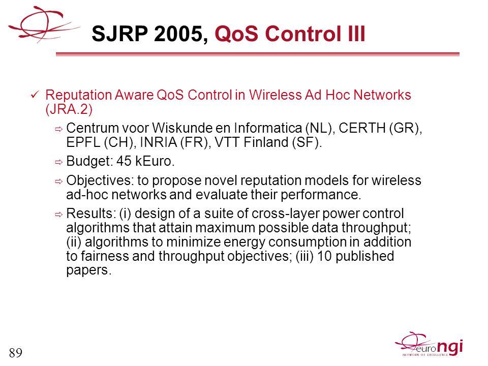 89 SJRP 2005, QoS Control III Reputation Aware QoS Control in Wireless Ad Hoc Networks (JRA.2)  Centrum voor Wiskunde en Informatica (NL), CERTH (GR), EPFL (CH), INRIA (FR), VTT Finland (SF).
