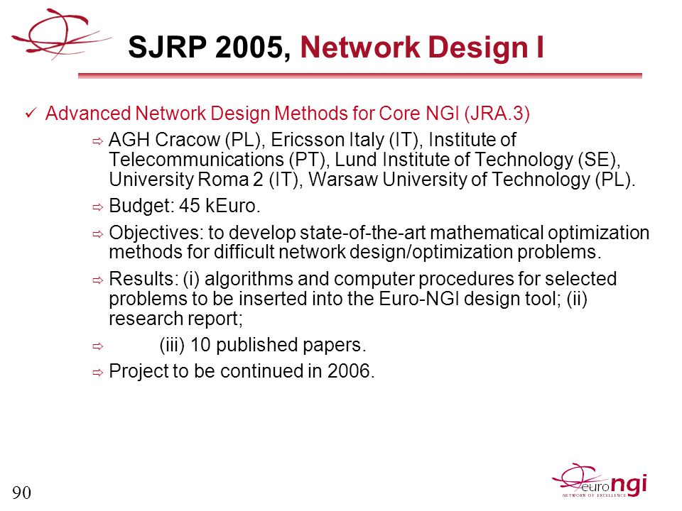 90 SJRP 2005, Network Design I Advanced Network Design Methods for Core NGI (JRA.3)  AGH Cracow (PL), Ericsson Italy (IT), Institute of Telecommunications (PT), Lund Institute of Technology (SE), University Roma 2 (IT), Warsaw University of Technology (PL).