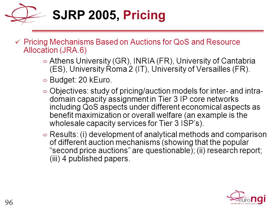 96 SJRP 2005, Pricing Pricing Mechanisms Based on Auctions for QoS and Resource Allocation (JRA.6)  Athens University (GR), INRIA (FR), University of Cantabria (ES), University Roma 2 (IT), University of Versailles (FR).