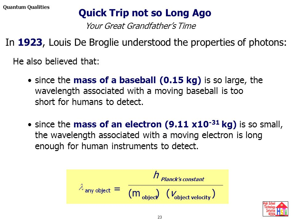 Quantum Qualities 23 since the mass of a baseball (0.15 kg) is so large, the wavelength associated with a moving baseball is too short for humans to detect.