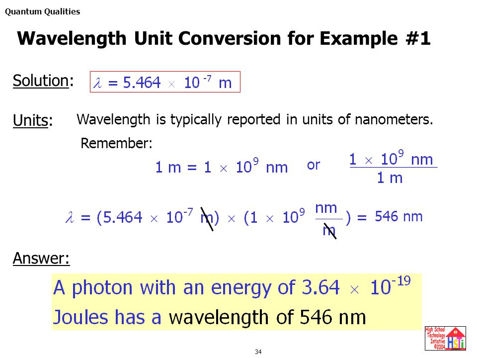 Quantum Qualities 34 Solution: Units: Wavelength is typically reported in units of nanometers.
