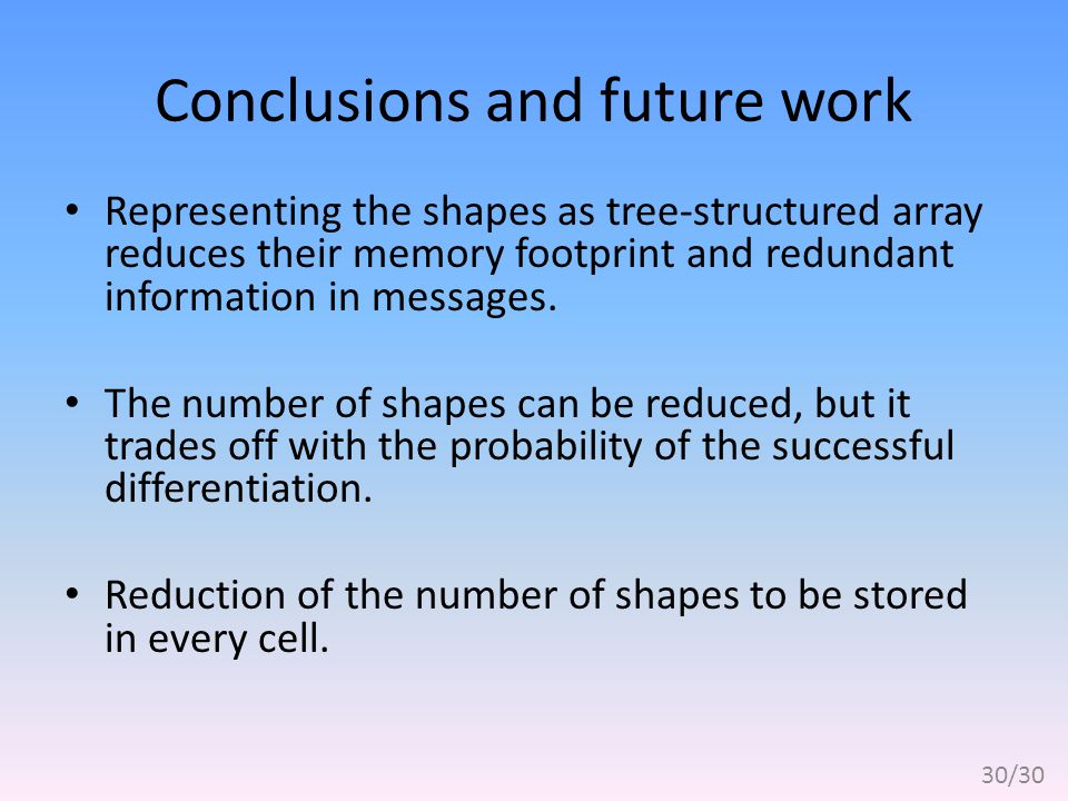 Conclusions and future work Representing the shapes as tree-structured array reduces their memory footprint and redundant information in messages.