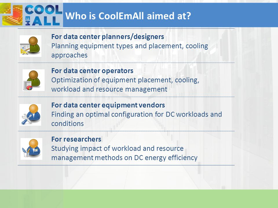 For data center planners/designers Planning equipment types and placement, cooling approaches For data center operators Optimization of equipment plac