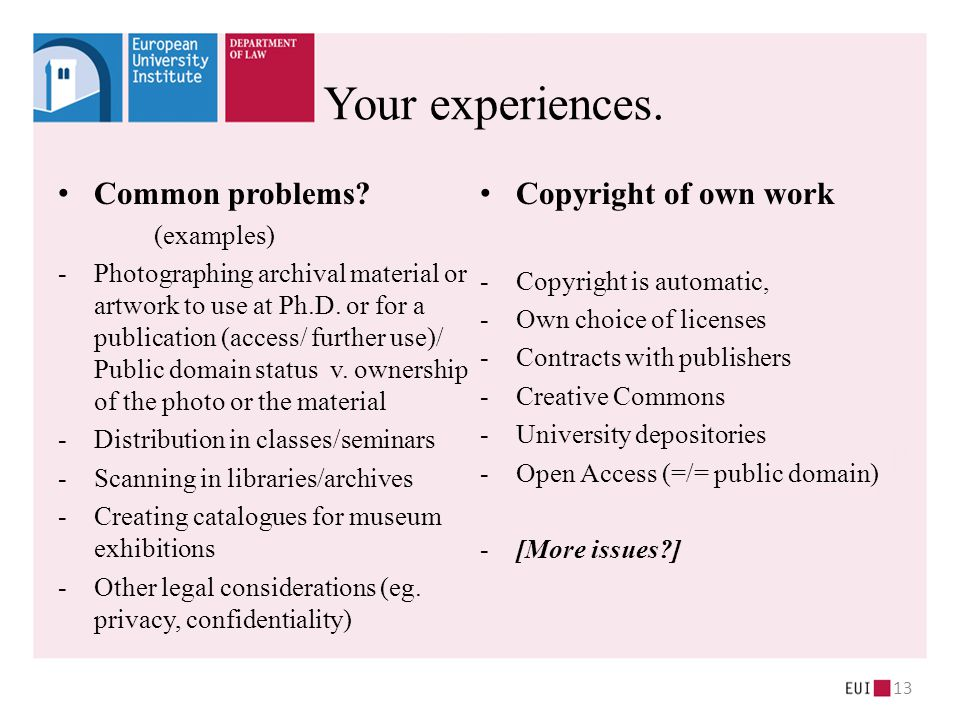 Common problems.(examples) -Photographing archival material or artwork to use at Ph.D.