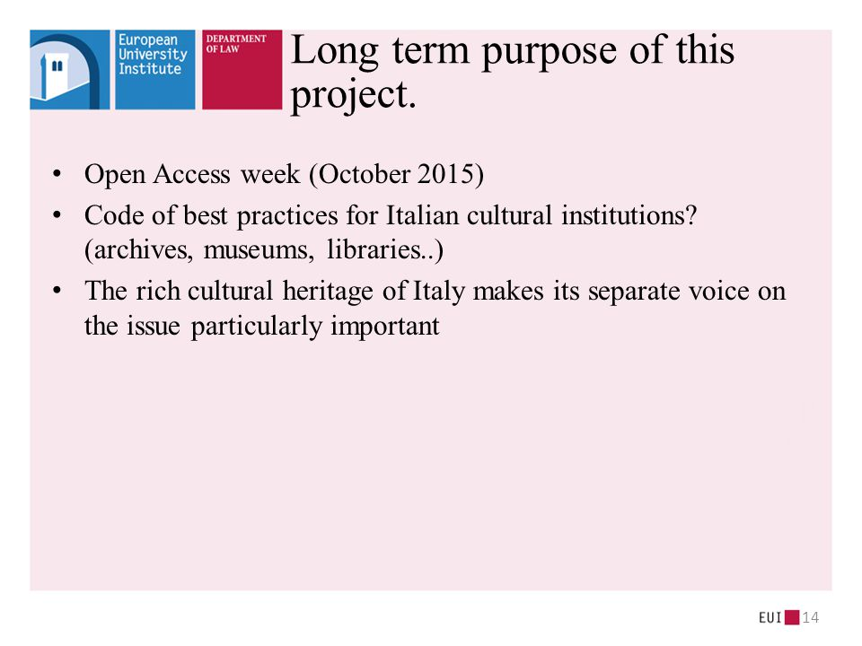 Open Access week (October 2015) Code of best practices for Italian cultural institutions.