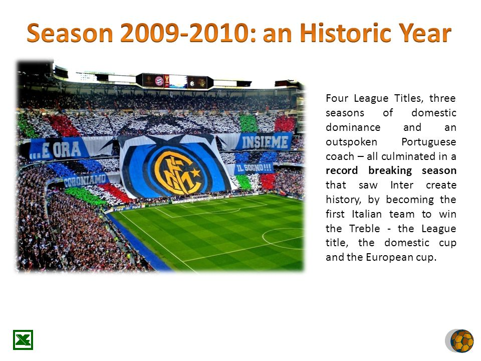 Four League Titles, three seasons of domestic dominance and an outspoken Portuguese coach – all culminated in a record breaking season that saw Inter create history, by becoming the first Italian team to win the Treble - the League title, the domestic cup and the European cup.