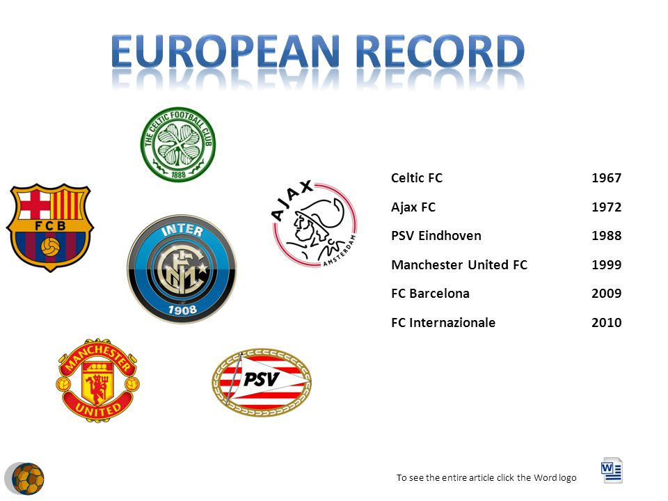 Celtic FC1967 Ajax FC1972 PSV Eindhoven1988 Manchester United FC1999 FC Barcelona2009 FC Internazionale2010 To see the entire article click the Word logo