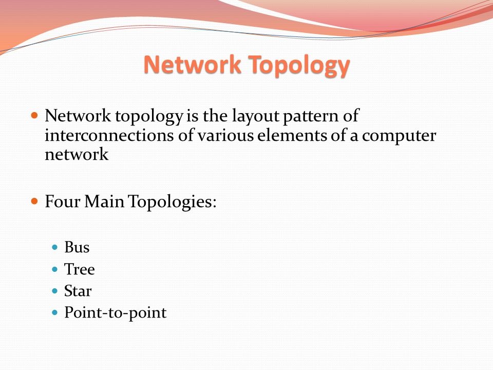 Bus Topology Bus Topology Each node is connected to a single cable Two subcategories: Linear bus, this network topology in which all of the nodes of the network are connected to a common transmission medium, which has two end points Is distributed bus topology is a topology in which all nodes in the network are connected to a common transmission medium which has more endpoints that are made by adding branches to the main section