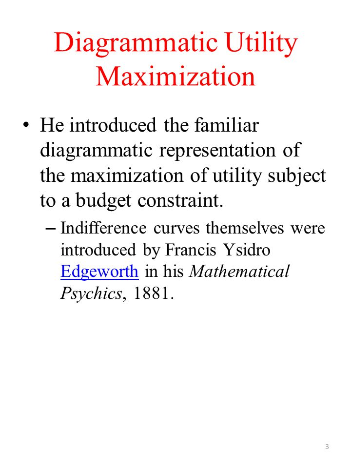 Diagrammatic Utility Maximization He introduced the familiar diagrammatic representation of the maximization of utility subject to a budget constraint.