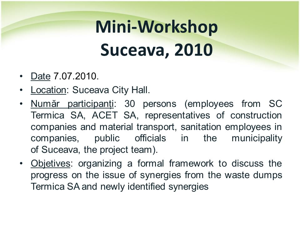 Date 7.07.2010. Location: Suceava City Hall. Număr participanţi: 30 persons (employees from SC Termica SA, ACET SA, representatives of construction co