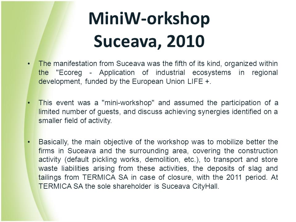 MiniW-orkshop Suceava, 2010 The manifestation from Suceava was the fifth of its kind, organized within the