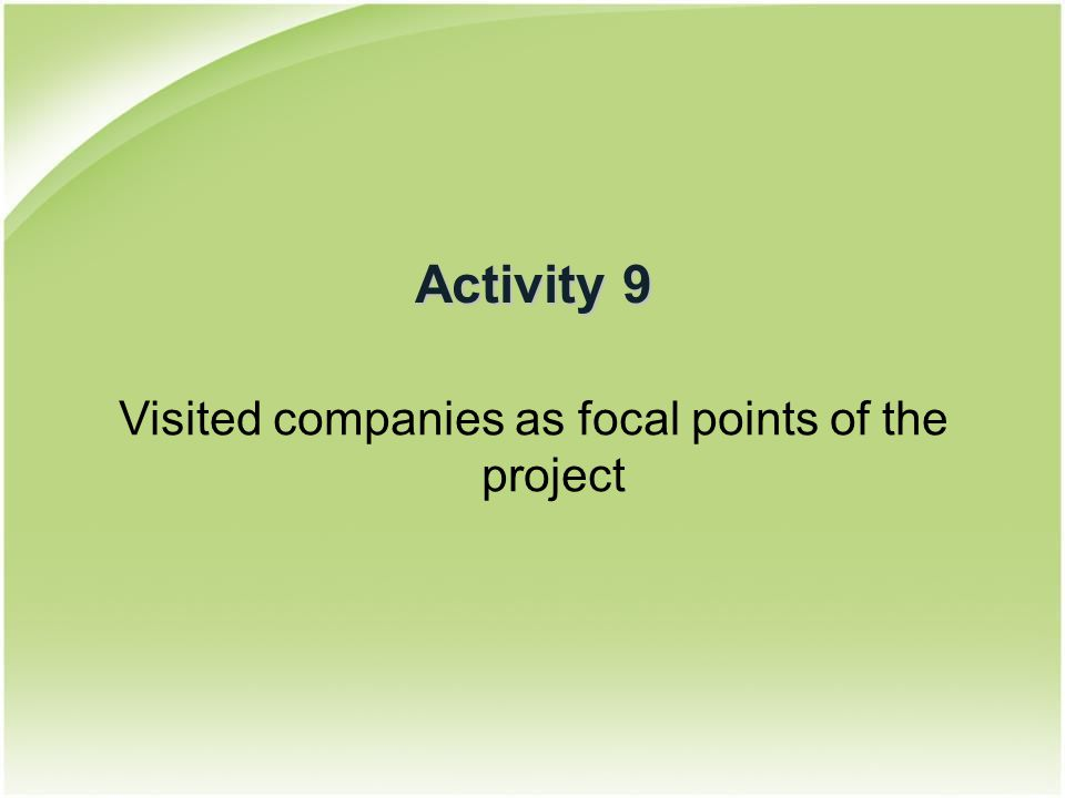 Activity 9 Visited companies as focal points of the project