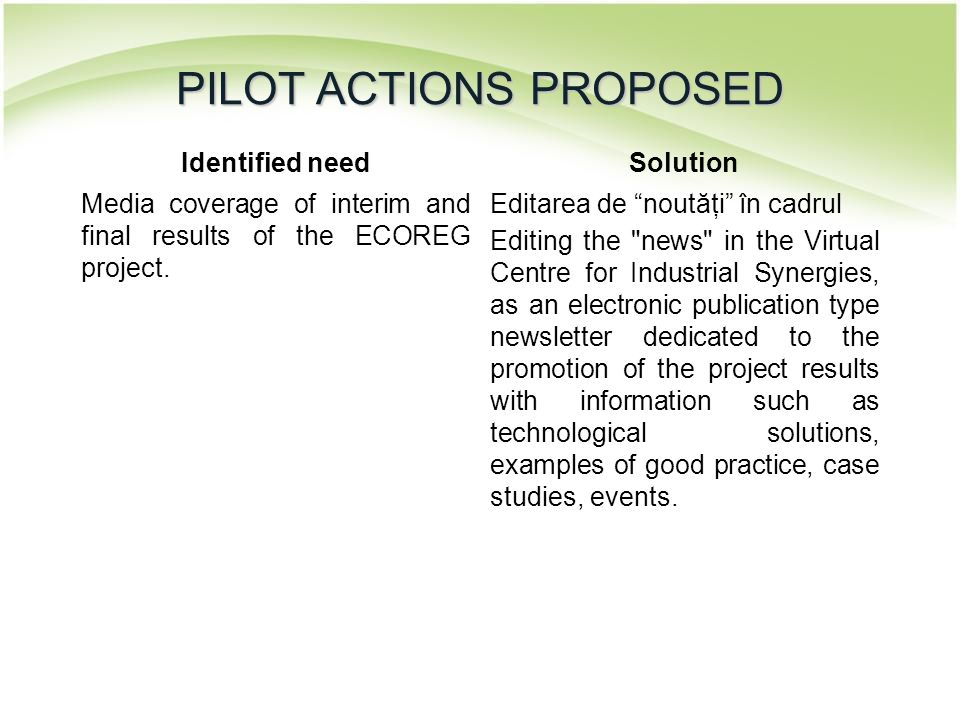 "Identified needSolution Media coverage of interim and final results of the ECOREG project. Editarea de ""noutăţi"" în cadrul Editing the"