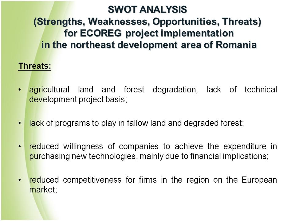 Threats: agricultural land and forest degradation, lack of technical development project basis; lack of programs to play in fallow land and degraded f