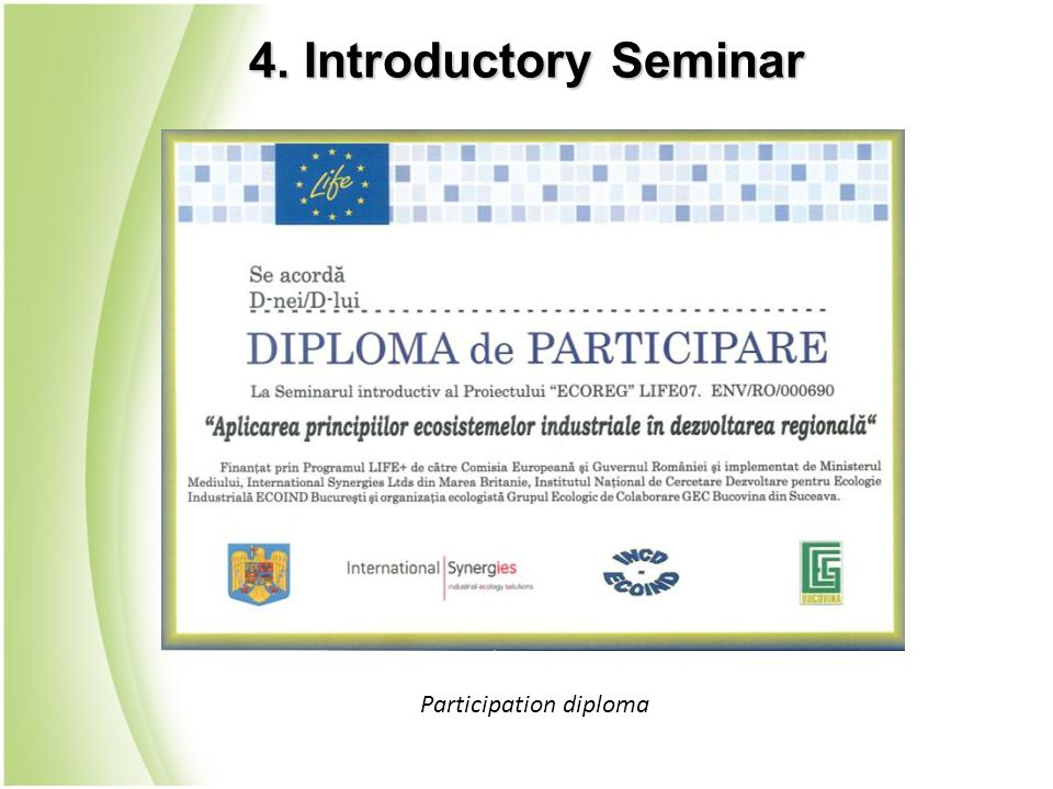 4. Introductory Seminar Participation diploma