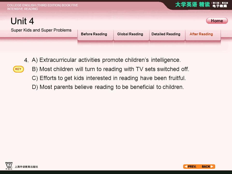 After Reading_2.3 Before ReadingGlobal ReadingDetailed ReadingAfter Reading A) Extracurricular activities promote children's intelligence.