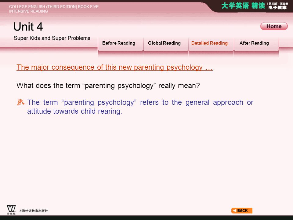 Article3_S_The major… Before ReadingGlobal ReadingDetailed ReadingAfter Reading What does the term parenting psychology really mean.