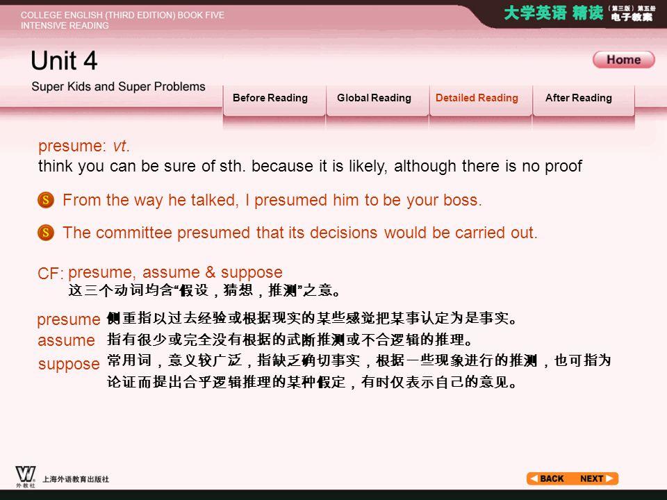 Article _W_ presume1 Before ReadingGlobal ReadingDetailed ReadingAfter Reading presume: vt.