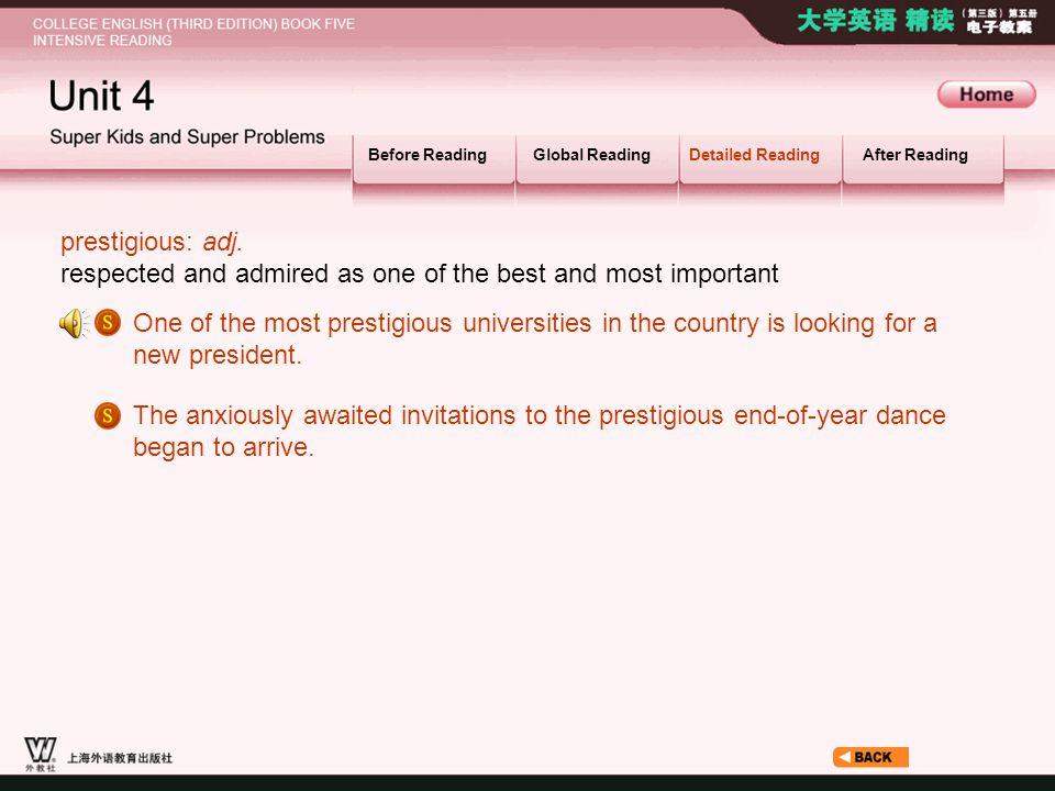 Article_ W_ prestigious Before ReadingGlobal ReadingDetailed ReadingAfter Reading prestigious: adj.