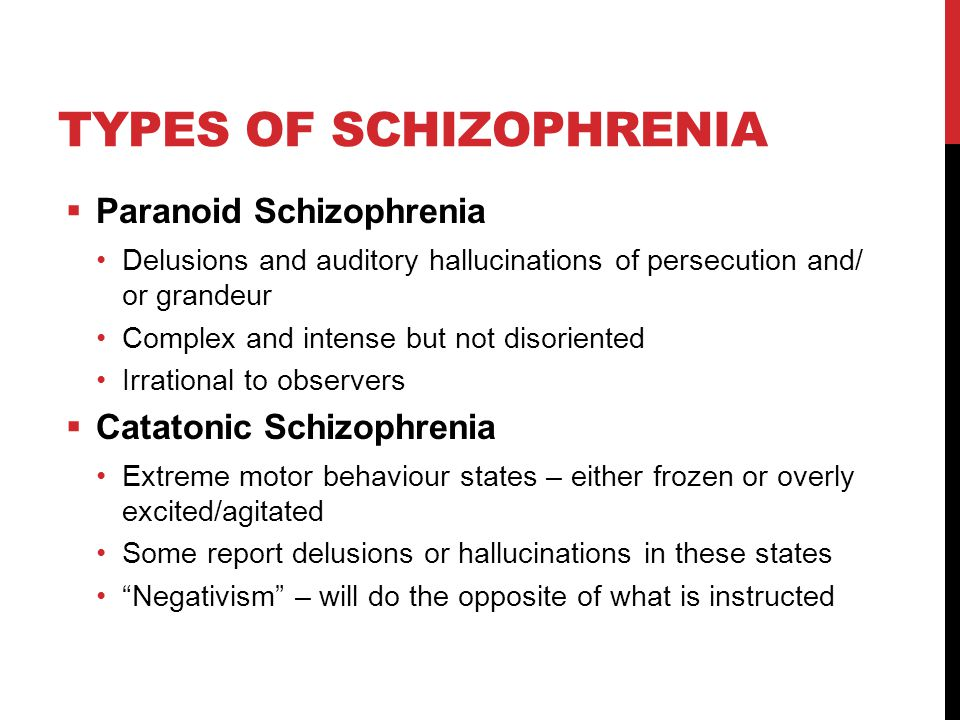 TYPES OF SCHIZOPHRENIA  Paranoid Schizophrenia Delusions and auditory hallucinations of persecution and/ or grandeur Complex and intense but not disoriented Irrational to observers  Catatonic Schizophrenia Extreme motor behaviour states – either frozen or overly excited/agitated Some report delusions or hallucinations in these states Negativism – will do the opposite of what is instructed