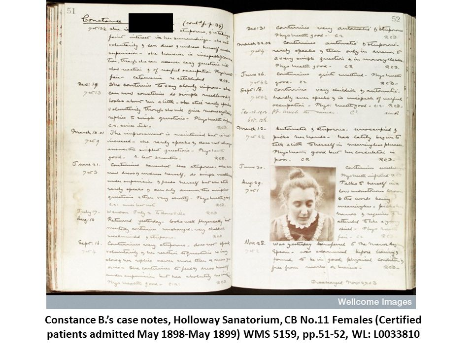 Constance B.'s case notes, Holloway Sanatorium, CB No.11 Females (Certified patients admitted May 1898-May 1899) WMS 5159, pp.51-52, WL: L0033810