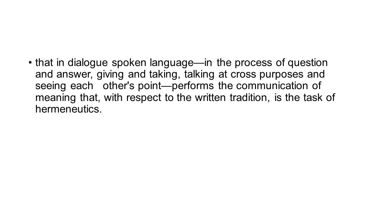 that in dialogue spoken language—in the process of question and answer, giving and taking, talking at cross purposes and seeing each other's point—per