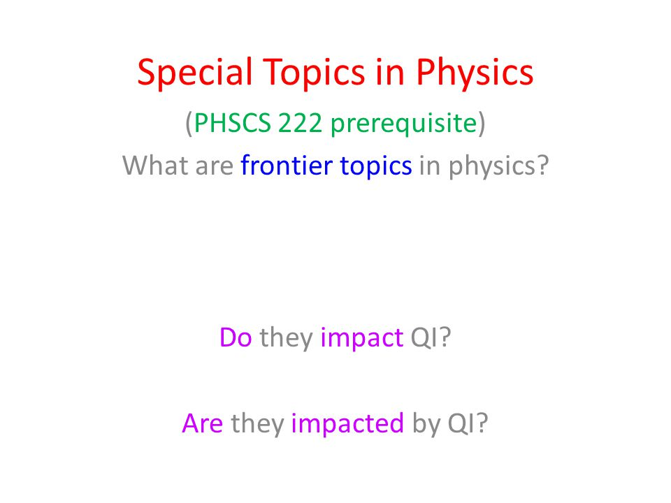 Special Topics in Physics (PHSCS 222 prerequisite) What are frontier topics in physics.