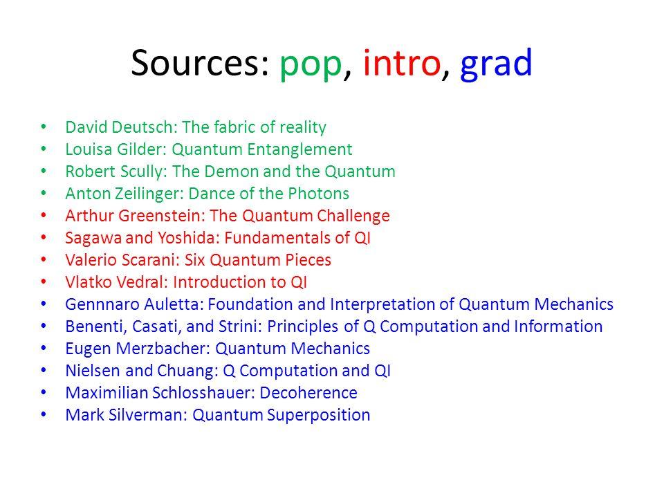 Sources: pop, intro, grad David Deutsch: The fabric of reality Louisa Gilder: Quantum Entanglement Robert Scully: The Demon and the Quantum Anton Zeil