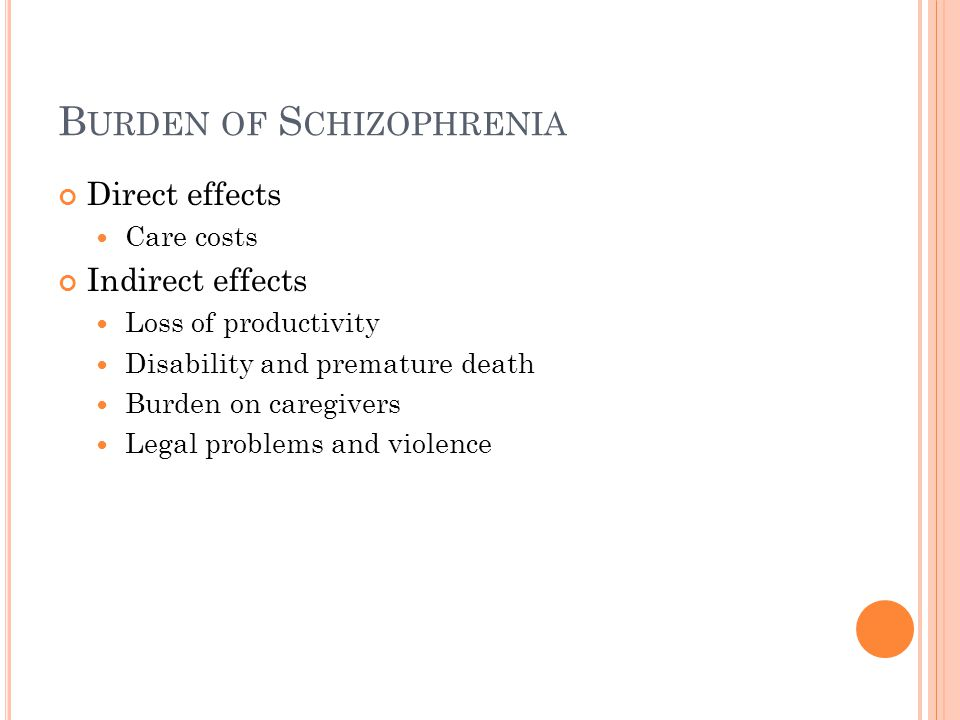B URDEN OF S CHIZOPHRENIA Direct effects Care costs Indirect effects Loss of productivity Disability and premature death Burden on caregivers Legal problems and violence